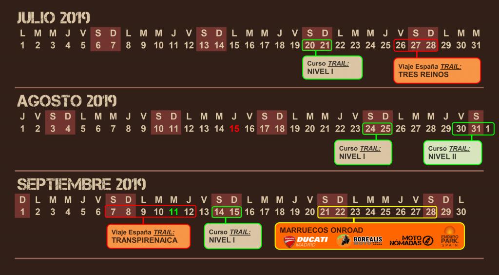 Calendario - Escuela Moto Trail - Viajes Moto Trail - Enduro